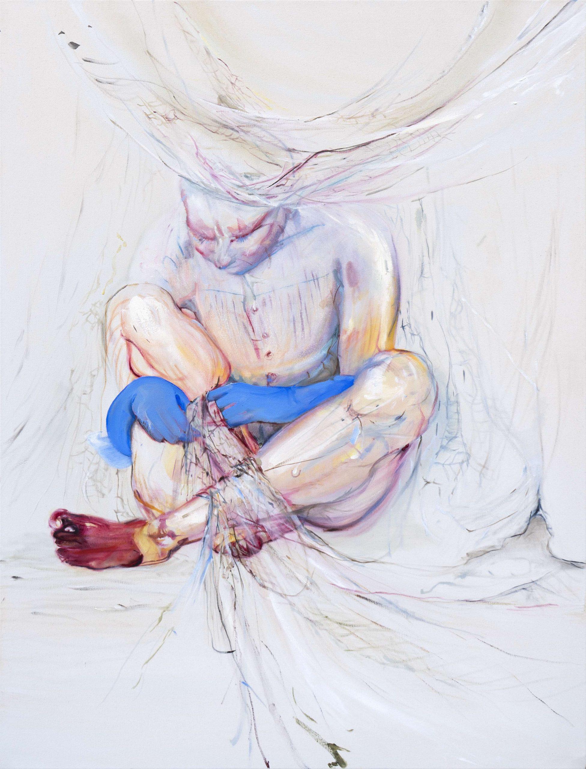 1mb Araminta Blue_Threading the net_107 x 82 cm_oil on canvas_2019