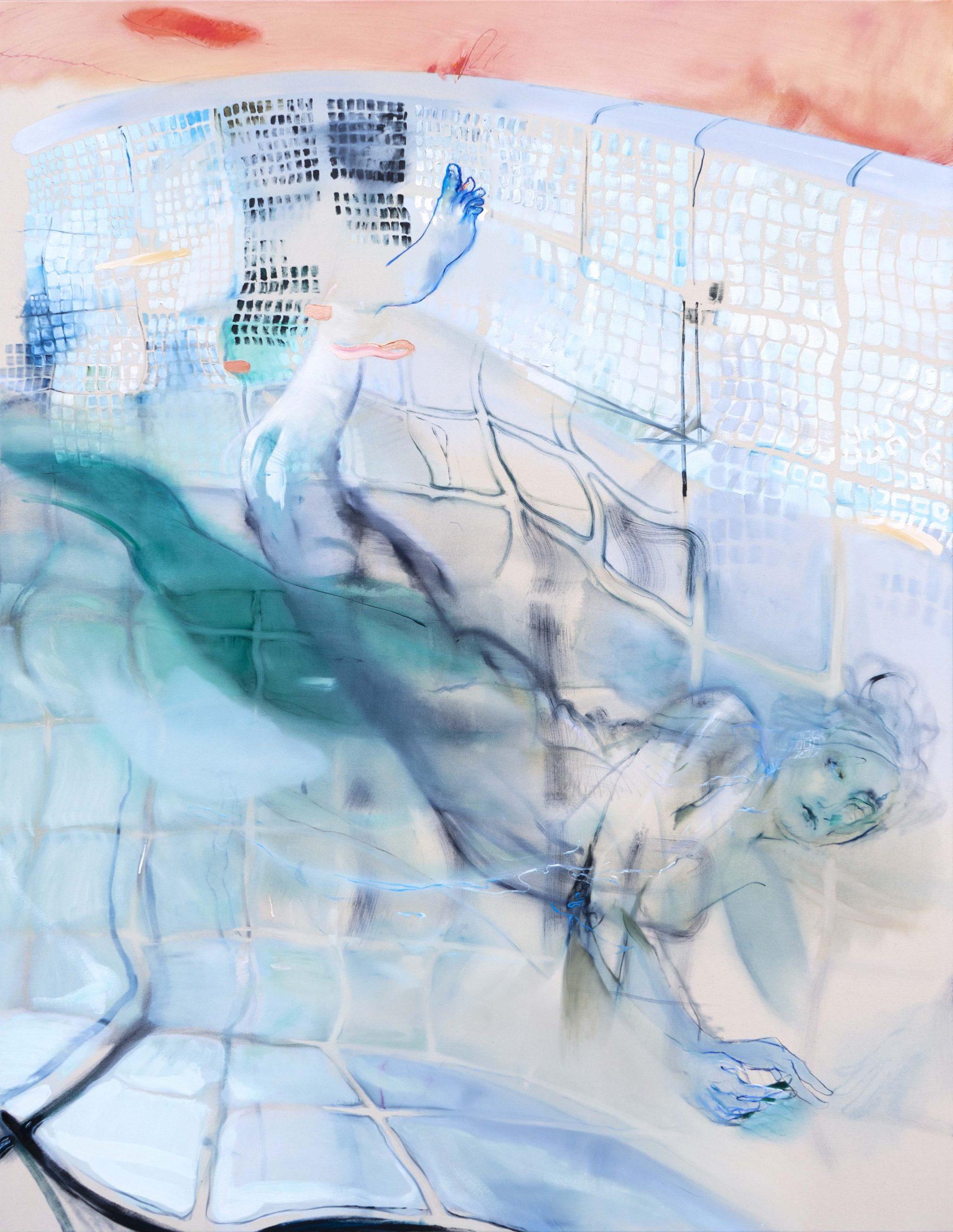 Araminta Blue_Diver_180 x 150cm_oil on canvas_2020